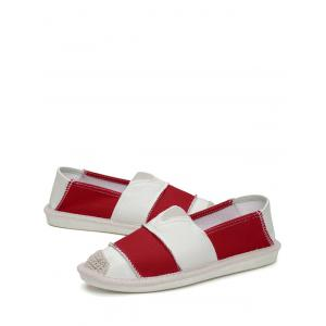 Striped Elastic Band Canvas Flat Shoes - RED 39