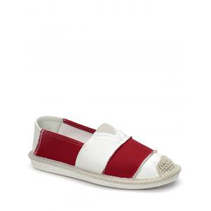Striped Elastic Band Canvas Flat Shoes - Red - 38