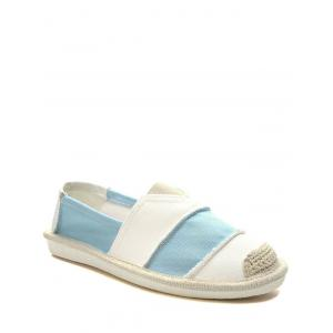 Striped Elastic Band Canvas Flat Shoes - Light Blue - 39