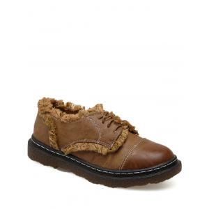 Fringe Stitching Tie Up Flat Shoes - Brown - 39