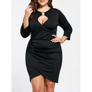 Plus Size Keyhole Neck Tulip Dress - Black - 5xl