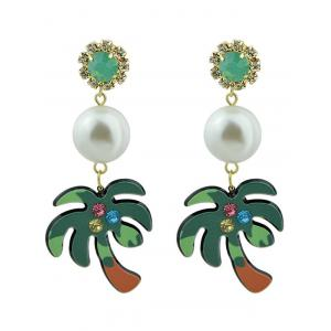 Rhinestone Faux Pearl Coconut Tree Earrings