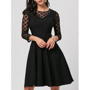 Polka Dot Mesh Insert Party Skater Dress