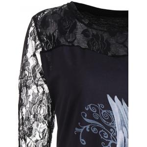 Lace Panel Angel Print Plus Size Top - Noir 5XL