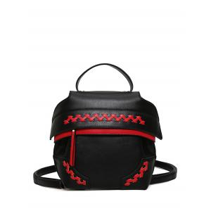 Colour Block Weave Backpack - Red With Black - 39
