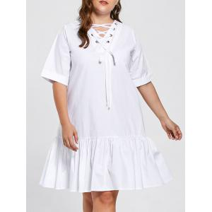 Plus Size Frill Lace Up Drop Waist Dress