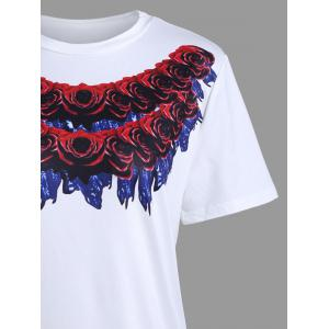 Short Sleeve Rose 3D Print Long T-shirt -