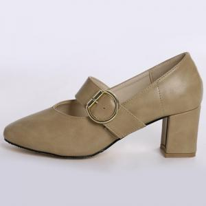 Square Toe Mary Jane Pumps - APRICOT 39