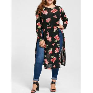 Plus Size Floral High Slit Longline Tee