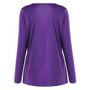 Plus Size Metal Buttons Plunging Neck Surplice Top - PURPLE XL