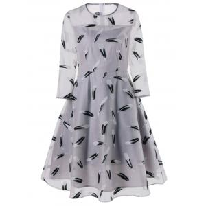 Feather Print See Thru Overlay Dress