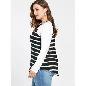 Plus Size Lattice Neck Striped Tee - BLACK WHITE 3XL
