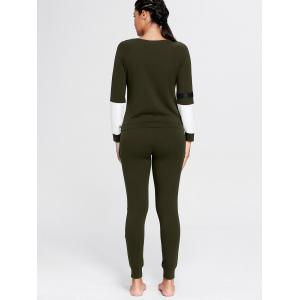 Color Block Zip Sweatshirt and Skinny Sports Joggers - DEEP GREEN M