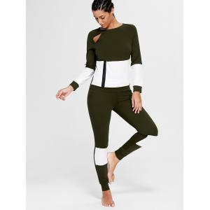 Color Block Zip Sweatshirt and Skinny Sports Joggers