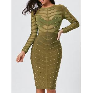 Long Sleeve Rivet Semi Sheer Bandage Dress