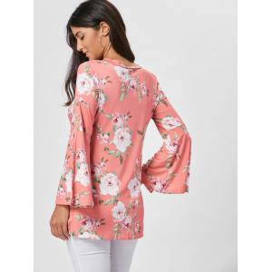 Floral Split Flare Sleeve Tunic Top - ORANGE PINK S