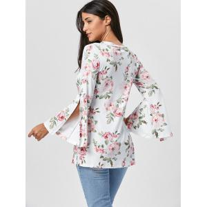 Floral Split Flare Sleeve Tunic Top - WHITE L