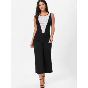 Wide Leg Sleeveless Two Tone Jumpsuit - WHITE AND BLACK S