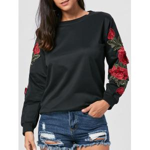 Long Sleeve Floral Applique Tunic Sweatshirt - Black - Xl