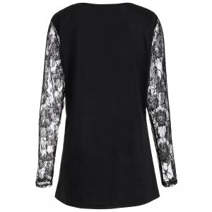 Lace Panel Angel Print Plus Size Top - BLACK 2XL