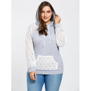 Pocket Lace Raglan Sleeve Plus Size Hoodie - Gray - 5xl