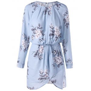 Floral Long Sleeve Blouson Dress - Pantone Turquoise - M