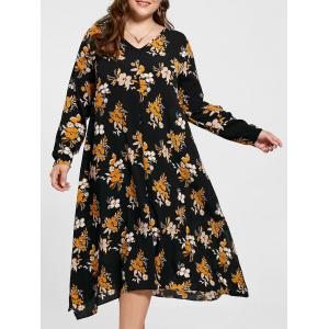 Handkerchief Floral Print Plus Size Dress