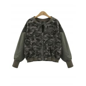 Zip Up Plus Size Camouflage Sweatshirt - Army Green - 3xl
