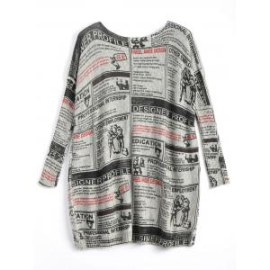 Plus Size Newspaper Printed Vintage Long Sweater -