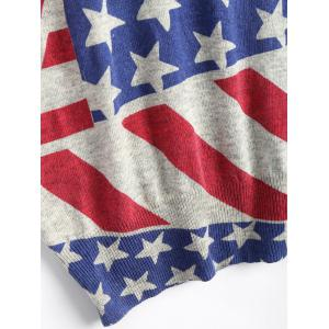 American Flag Knit Patriotic Plus Size Sweater - RED ONE SIZE