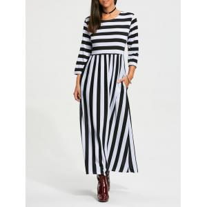High Waist Stripe Maxi Dress with Pocket