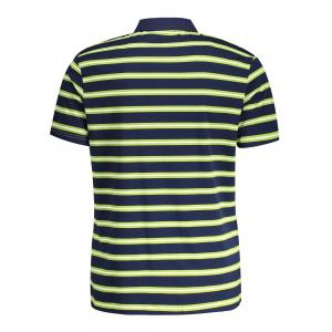 Striped Mens Polo Shirt - GRASS GREEN M
