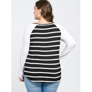 Plus Size Lattice Neck Striped Tee - BLACK WHITE 2XL