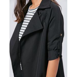 Lapel Long Wrap Coat - Noir XL