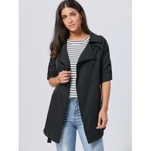 Lapel Long Wrap Coat - Noir 2XL