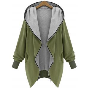 Hooded Plus Size Zip Up Coat - Army Green - 4xl