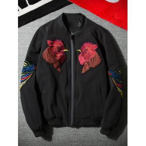 Cock Brodé Applique Zip Up Jacket - Noir 4XL