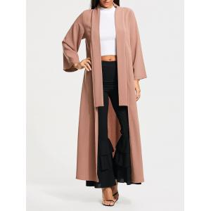 Open Front Long Maxi Cardigan - Pale Pinkish Grey - M