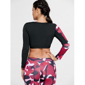 Camouflage Printed Sports Long Sleeve Crop Top - RED L