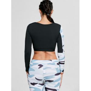 Camouflage Printed Sports Long Sleeve Crop Top - Blanc S