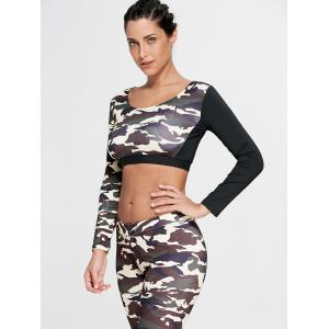 Camouflage Printed Sports Long Sleeve Crop Top - DUN XL