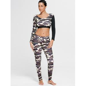 Camouflage Printed Sports Long Sleeve Crop Top - DUN M