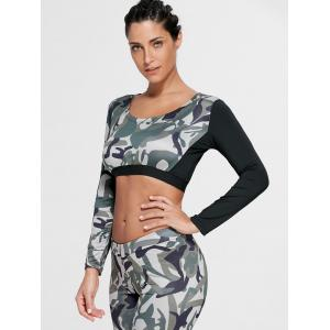 Camouflage Printed Sports Long Sleeve Crop Top - ARMY GREEN S