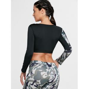 Camouflage Printed Sports Long Sleeve Crop Top - ARMY GREEN M