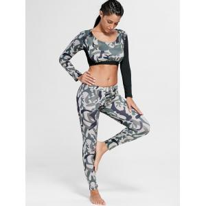 Camouflage Printed Sports Long Sleeve Crop Top - ARMY GREEN L