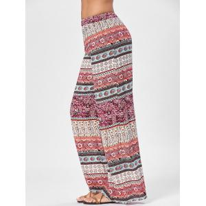 Wide Leg Totem Floral Print Pants - COLORMIX ONE SIZE
