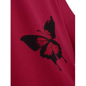 Butterfly Skew Neck Drop Shoulder Plus Size Top - RED 4XL