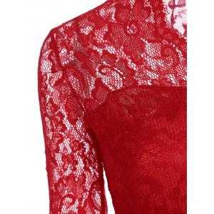 V Neck Lace Tight Fitted Sheath Dress - RED S