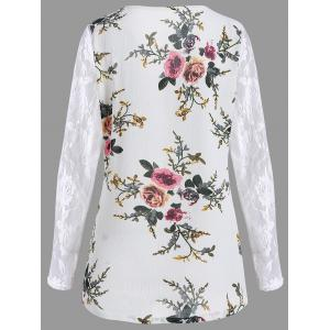 Lace Panel Floral Print Plus Size Top - Blanc 2XL