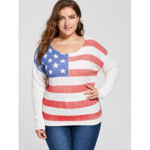 Plus Size American Flag Print Sweater -